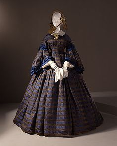 Woman's Dress (Wedding), circa 1860 Costume/clothing principle attire/entire body, Silk damask,