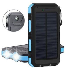 Solar Charger,Solar Power Bank 20000mAh Waterproof Portable External Battery USB Charger Built in LED light with Compass for iPad iPhone Android Cellphones (Black & Blue)  https://topcellulardeals.com/product/solar-chargersolar-power-bank-20000mah-waterproof-portable-external-battery-usb-charger-built-in-led-light-with-compass-for-ipad-iphone-android-cellphones-black-blue/  High Capacity: Built-in 20000mAh high capacity polymer battery equipped with a compact solar panel,