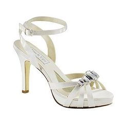 Touch Ups Dolly Dyeable White Silver Satin Evening Prom Bridal High Heel Shoe