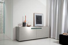 PRESOTTO  Mood sideboard with 2 coplanar sliding doors in grigio polvere eco...