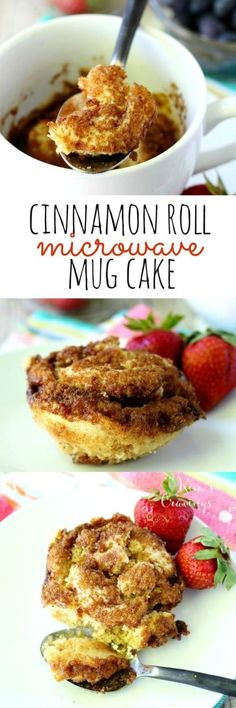 This easy cinnamon roll microwave mug cake is the perfect treat when you're craving a little something sweet. In just over a minute, you can be indulging in a scrumptious moist single-sized cinnamon roll flavored cake. (paleo sweets mug) Microwave Mug Recipes, Mug Cake Microwave, Microwave Pancakes, Easy Microwave Desserts, Microwave Meals, Mug Cake Receta, Low Carb Paleo, Cooking Recipes, Healthy Recipes