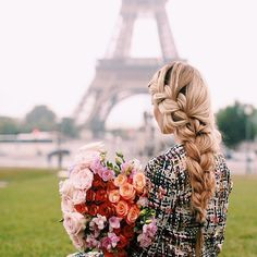 Beautiful scene in Paris, nice hair