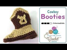 How to Crochet Baby Booties: Cowboy Booties - YouTube