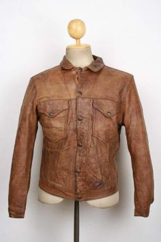 Vtg 1940s LEVIS Big E Shorthorn Brown Leather Western MOTORCYCLE Jacket Small