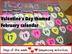 Valentine's Day themed February calendar for preschoolers