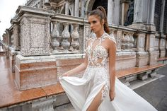 Designer Julie Vino's sexy wedding dresses which feature lavish laces, intricate sheer details and bodices encrusted with jewels, were inspired by the romantic city of Venice, Italy.
