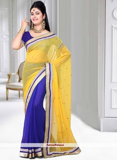 Yellow And Blue Crystals Work Saree