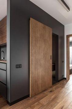 Masculine Interior Design, Apartment in Poland in Minimalist Style Sliding Door Design, Modern Sliding Doors, Interior Sliding Doors, Modern Wood Doors, Sliding Door Systems, Sliding Wall, Apartment Interior Design, Modern Interior Design, Masculine Interior