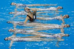 Team of China perform during the team synchronised swimming Free Combination - Final on day four of 2014 Asian Games at Munhak Park Tae-hwan Aquatics Center on September 23, 2014 in Incheon, South Korea. (Photo by Lintao Zhang/Getty Images)