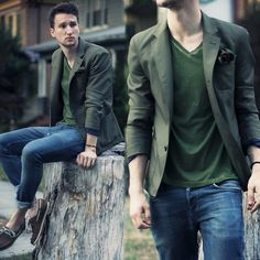Marc By Marc Jacobs Blazer, Buffalo David Bitton T Shirt, H Pocketsquare, All Saints Jeans, N.D.C. Boat Shoes