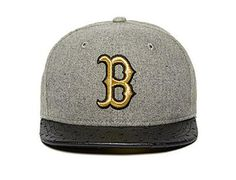 Custom Boston Red Sox PU Peak Grey-Black-Gold 59Fifty Fitted Baseball Cap by NEW ERA x MLB