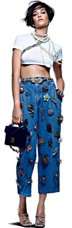 Embellished Denim Editorials : Nada Basico Vogue Brazil                                                                                                                                                                                 More