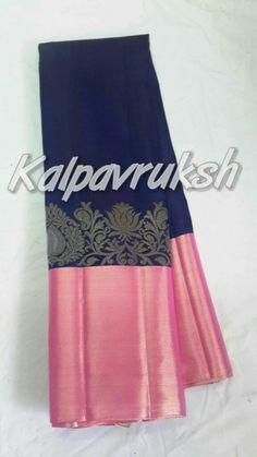 Navy blue silk saree with pink border Blue Silk Saree, Bridal Silk Saree, Indian Silk Sarees, Cotton Saree, Ethnic Sarees, Saree Wedding, Wedding Dress, Indian Attire, Indian Ethnic Wear