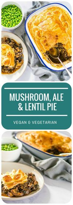 Hearty Mushroom Ale & Lentil Pie | Vegan #veganrecipes