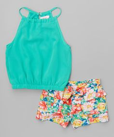Look what I found on #zulily! Teal Halter Top & Floral Shorts - Toddler & Girls #zulilyfinds