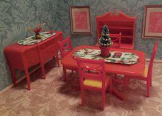 Renwal LOVELY RED DINING ROOM SET Vintage Dollhouse Furniture Ideal Marx Plasco #Renwal