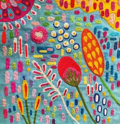 Spotlight: Lucy Levenson, folk art designer and textile artist Sp . In the spotlight: Lucy Levenson, folk art designer and textile artist In the spotlig Art Fibres Textiles, Textile Fiber Art, Textile Artists, Fabric Painting, Fabric Art, Painting Tips, Watercolor Painting, Fabric Design, Art Populaire