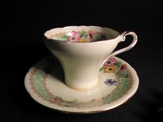 Aynsley Poppies and Anemones B5178/2 Teacup & Saucer