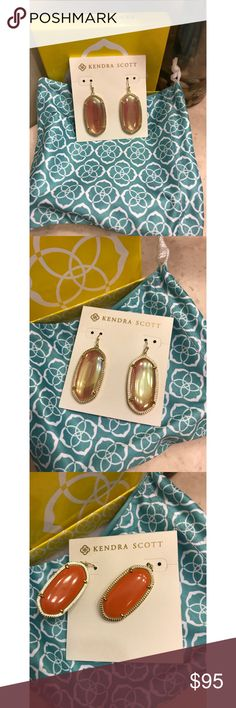 """Kendra Scott """"Elle"""" Iridescent Earrings - EUC! Kendra Scott """"Elle"""" earrings in Iridescent tangerine set in gold. These are rare and hard to find, especially in such perfect condition as these are in! Absolutely no flaws on either sides. From a smoke-free home as well. No trades! Firm price! Bundle for a discount!! Kendra Scott Jewelry Earrings"""