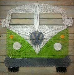 custom string art green volkswagon vw bus  magic bus hippy psychedelic