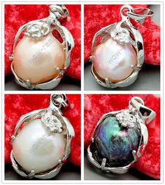 Pretty 10-11mm Colorful Pearl Necklace Pendant 4 Color Optional