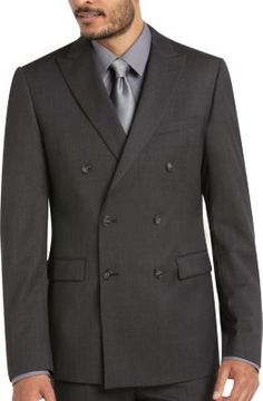 Calvin Klein Charcoal Check Double Breasted Extreme Slim Fit Suit   Men's Wearhouse
