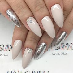 Nude Almond Nails Designs with Rhinestone picture 3