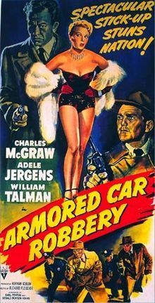 Armored Car Robbery is a 1950 American film noir shot in a semi-documentary style, directed by Richard Fleischer, and starring Charles McGraw. The movie was filmed on location in Los Angeles, California. Armored Car Robbery is one of the first of the heist movies, a sub-genre of the crime film. The film tells the story of a well-planned robbery of cash from an armored car when it stops at a sports stadium.