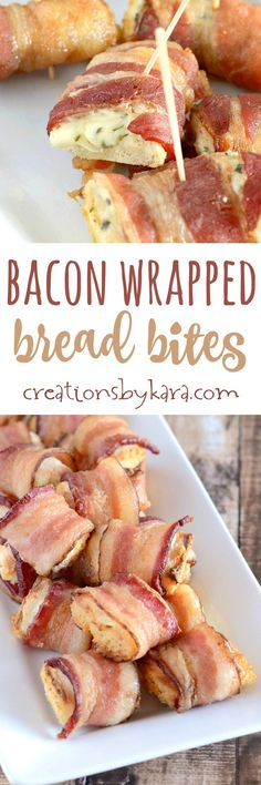 Bacon Wrapped Bread Bites are a perfect appetizer recipe for game day, New Years Eve, or any party. Everyone loves these tasty snacks, and they are so easy. Only 3 ingredients!