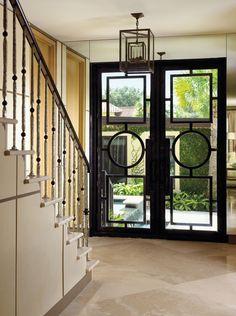 Glass door detail - Design by William R. Design Entrée, Door Design, House Design, Design Ideas, Style At Home, Iron Doors, Metal Doors, Glass Doors, Iron Gates