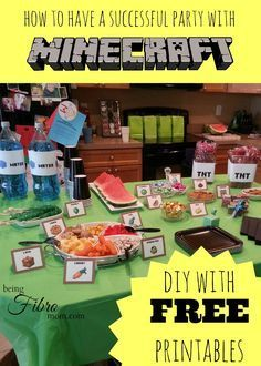 Find the complete Minecraft birthday party here! Printables include invitations, food labels, and more! Decorations and food completes the MInecraft theme!
