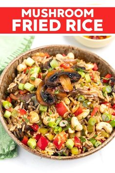 This mushroom fried rice recipe is budget friendly and super quick to make. It's a great way to use up leftover cooked rice and uses only one pan. Make a quick meal in just 15 minutes that is delicious and filling for the whole family! Vegan Dinner Recipes, Vegan Dinners, Rice Recipes, Whole Food Recipes, Vegetarian Recipes, Healthy Recipes, Tempeh, Kimchi, Polenta