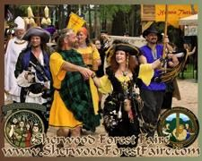 Sherwood Forest Faire  Sherwood Forest Faire is a permanent village of over 150 structures designed to satisfy your entire family's appetite for food, drink, shopping, games and entertainment. Visit during February and March for an eight-weekend medieval-themed event, Sherwood Forest Faire, or during one weekend in September for the Sherwood Forest Celtic Festival & Highland Games.