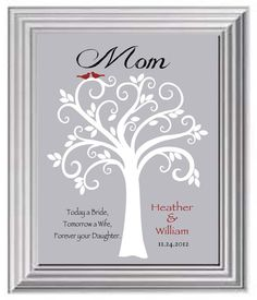 Mother of the Bride Gift - Wedding Gift for Mom or Dad - Personalized Gift from Daughter - Can be made in other colors