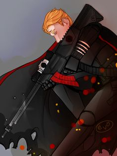 "everowlart: "" Since bachure blessed us with this wonderful post i haven't been able to get hux in a black stormtrooper uniform out of my head!! @bachure you're wonderful and i hope you don't mind i drew a little something!! sniper!hux is my fave..."