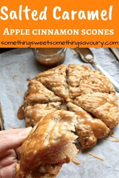 salted caramel apple and cinnamon scones: These salted caramel apple and cinnamon scones are the perfect Autumnal bake - soft and fluffy scones with caramelised apple pieces and drizzled with addictive salted caramel! Is there anything more homely and comforting than a pile of freshly baked scones? I don't think there