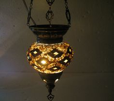 Moroccan lantern mosaic hanging lamp glass chandelier light lampen candle t 003  #Handmade #Moroccan