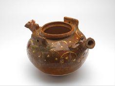 hanging cistern, c. 1400 h. 17.5 cm slip decoration, lead glaze, redware (Europe > Western Europe > The Netherlands > Utrecht)