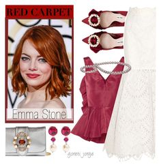"""""""Red Carpet at the Oscars- Emma Stone"""" by goreti ❤ liked on Polyvore featuring Oscar de la Renta, Miu Miu and RedCarpet"""