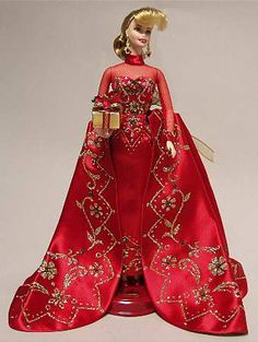 Mattel Holiday Barbie-Porcelain Holiday Gift Barbie - Boxed