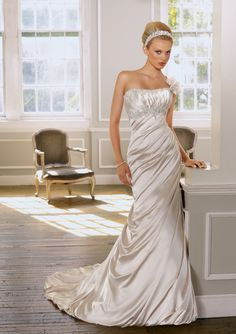 Mori Lee by Madeline Gardner--Style 1605-Soft Satin with embroidery. Removable beaded one shoulder strap with flowers.
