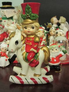 RARE Vintage Lefton Christmas Soldier Boy on Candy Cane Rocking Horse Candleholder