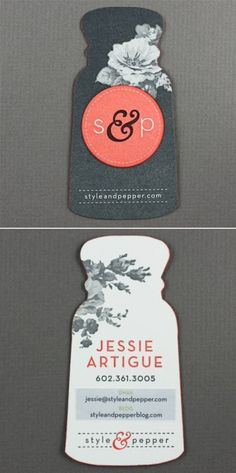 Clever business card design: A salt and pepper shaker for Style and Pepper!
