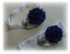 Royal Blue And White Wedding Garter