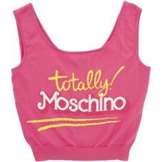 Moschino Knit Logo Tank Top (16.485 RUB) ❤ liked on Polyvore featuring tops, crop tops, shirts, moschino, pink, fitted tank tops, pink tank, logo shirts, moschino shirt and strappy tank top