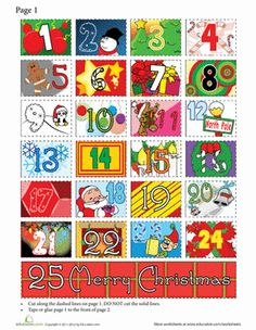 Christmas Second Grade Paper Projects Time Worksheets: Printable Advent Calendar