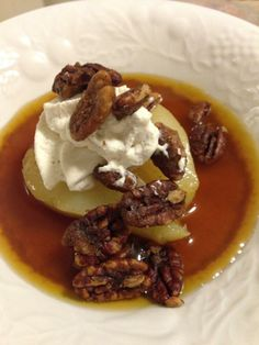 Saffron and Riesling Poached Pear with Mascarpone Cream and Chinese 5 Spice Candied Pecans