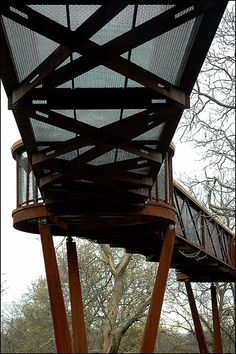 The Treetop Walkway at Kew Gardens designed by Marks Barfield Architects. Corten Steel, Kew Gardens, Walkway, Winchester, Land Scape, Bridges, Architects, Grid, Garden Design