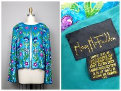 BRIGHT Fully Sequined Jacket // Turquoise Blue and Purple Floral Sequin Embellished Shrug by Mary McFadden XL by braxae on Etsy
