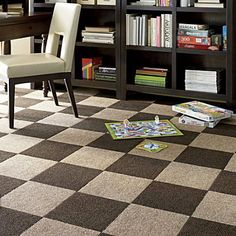 Peel & Stick Carpet Tiles - SUPER easy DIY home upgrade. Maybe a good idea for the boys rooms. Best Carpet, Diy Carpet, Modern Carpet, Carpet Ideas, Plush Carpet, Hall Carpet, Tile Bedroom, Bedroom Carpet, Bathroom